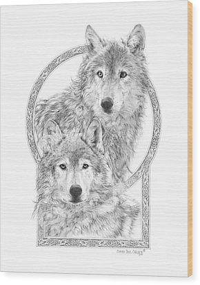 Canis Lupus II - Wolves - Mates For Life  Wood Print by Steven Paul Carlson