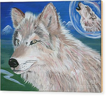 Wood Print featuring the painting Wolves by Phyllis Kaltenbach