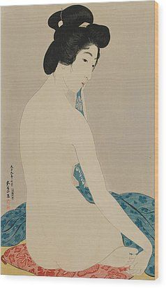 Woman After A Bath Taisho Era Wood Print by Goyo Hashiguchi