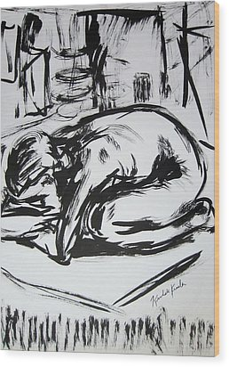 Woman Alone With Shadows Wood Print by Kendall Kessler
