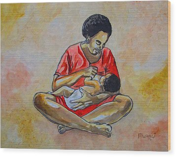 Wood Print featuring the drawing Woman And Child by Anthony Mwangi