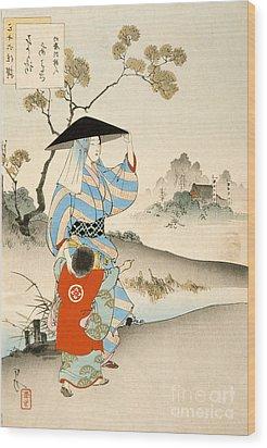 Woman And Child  Wood Print by Ogata Gekko