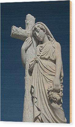 Woman And Cross Statue Wood Print