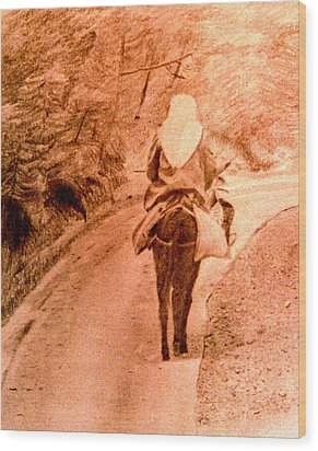 Woman And Donkey-going Home Wood Print