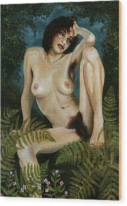 Woman And Ferns Wood Print by Jo King