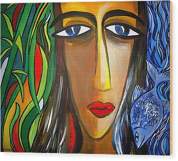 Woman And Nature Wood Print by Shakhenabat Kasana