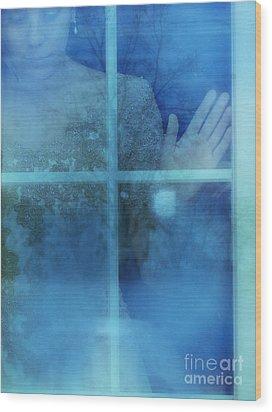 Woman At A Window Wood Print by Jill Battaglia