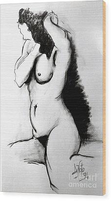 Woman At Bath Wood Print