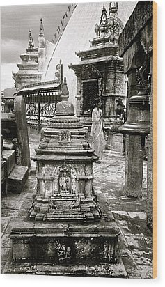 Woman At Swayambhu Wood Print