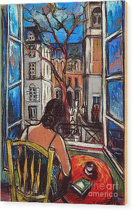 Woman At Window Wood Print
