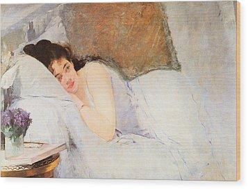Woman Awakening Wood Print by Eva Gonzales