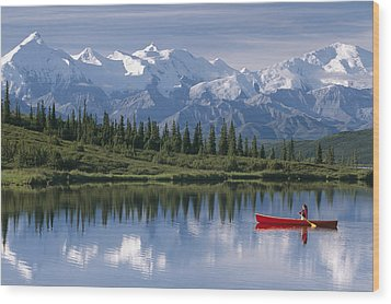 Woman Canoeing In Wonder Lake Alaska Wood Print by Michael DeYoung
