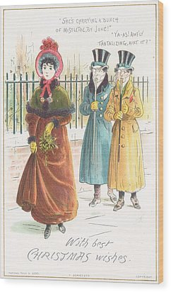 Woman Carrying Bunch Of Mistletoe Wood Print by English School