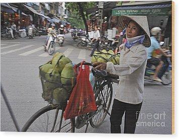 Woman Carrying Fruit On Bike Wood Print by Sami Sarkis