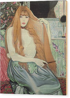 Woman Combing Her Hair Wood Print by Louis Anquetin