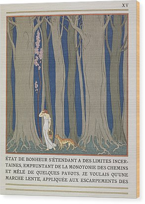 Woman Followed By A Leopard Wood Print by Georges Barbier