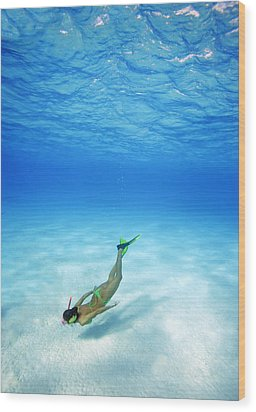 Woman Free Diving Wood Print by M Swiet Productions