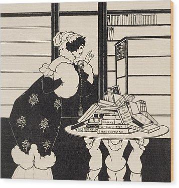 Woman In A Bookshop Wood Print