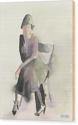 Woman In A Cloche Hat Watercolor Fashion Illustration Art Print Wood Print by Beverly Brown
