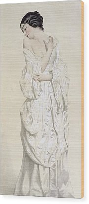 Woman In A Dressing Gown Wood Print by French School