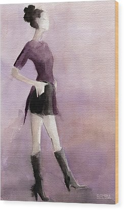 Woman In A Plum Colored Shirt Fashion Illustration Art Print Wood Print by Beverly Brown Prints