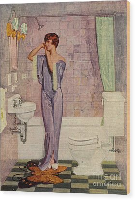 Woman In Bathroom 1930s Uk Cc Cc Wood Print by The Advertising Archives