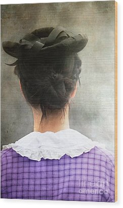 Woman In Black Hat Wood Print by Stephanie Frey