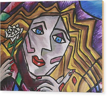 Woman In Cubism Wood Print by Rebecca Schoof