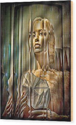 Woman In Glass Wood Print by Chuck Staley