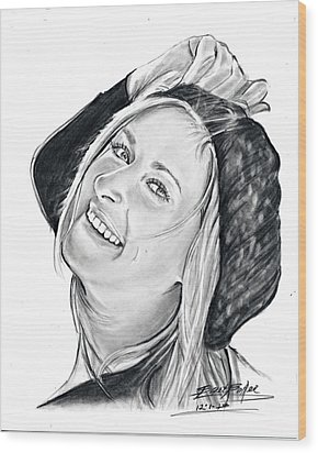 Woman In Hat Wood Print by Barb Baker