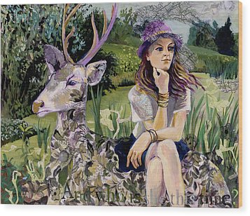 Wood Print featuring the painting Woman In Hat Dreams With Stag by Tilly Strauss