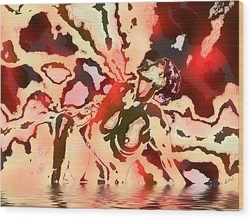 Woman In Red Wood Print by Kurt Van Wagner