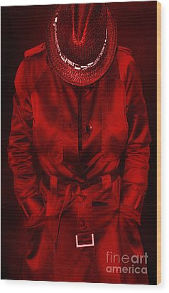Woman In Red Wood Print by Svetlana Sewell
