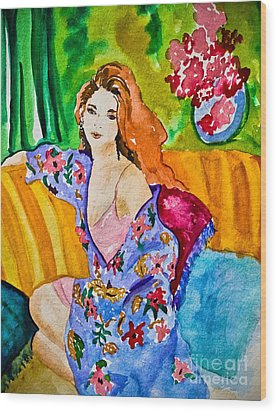 Woman In Silk Kimono Wood Print by Colleen Kammerer