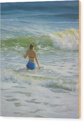 Woman In The Waves Wood Print