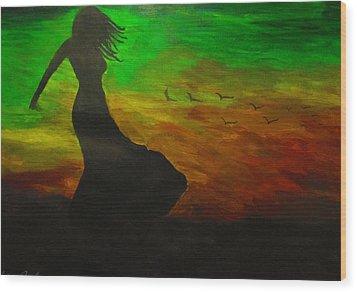 Woman In The Wind Wood Print by Haleema Nuredeen