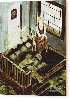 Woman In The Window Wood Print