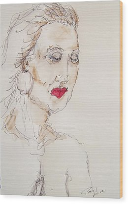 Woman In Thought Wood Print