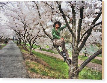 Woman In Tree Wood Print by Dan Friend