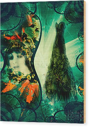 Green Mystery Montage Wood Print