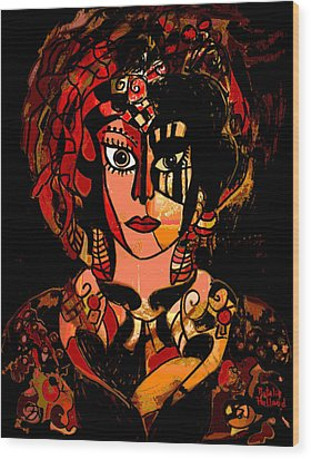 Woman Of Mystery Wood Print by Natalie Holland