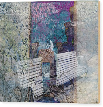 Wood Print featuring the digital art Woman On A Bench by Cathy Anderson