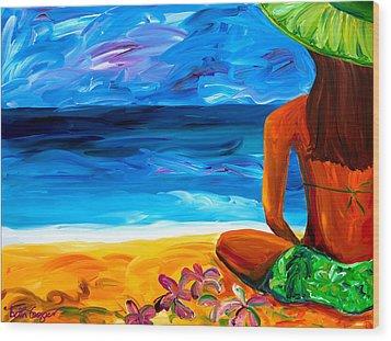 Woman On Beach Wood Print by Beth Cooper