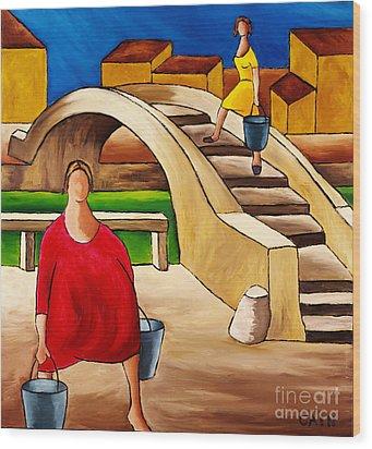 Woman On Bridge Wood Print by William Cain