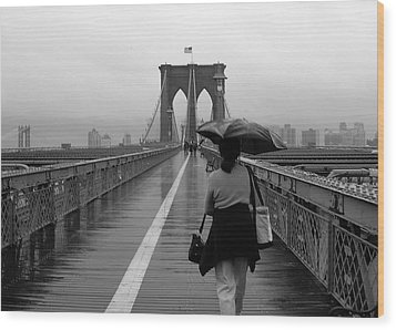 Woman On Brooklyn Bridge Wood Print by Victoria Lakes