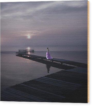 Woman On Footbridge Wood Print by Joana Kruse