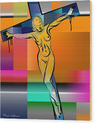 Woman On The Cross Wood Print by Mark Ashkenazi