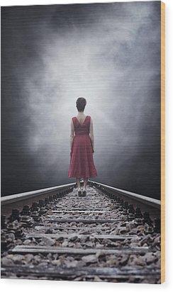 Woman On Tracks Wood Print by Joana Kruse