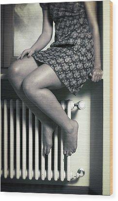 Woman On Window Sill Wood Print by Joana Kruse