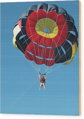 Woman Parasailing Wood Print